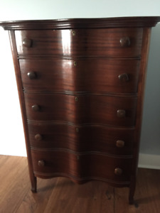 Wave front High Boy dresser, solid hardwood, perfect condition
