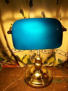 Vintage Polished Brass Bankers Desk Piano Lamp Blue Glass Shade