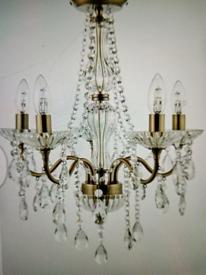 Stunning Luxe chandelier antique brass new