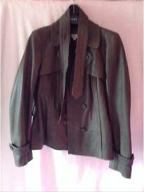Women's Dark Khaki, Leather Jacket, Size 12