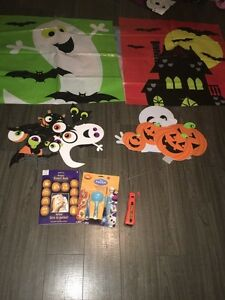 Halloween decorations and carving kit.