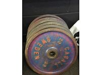 Casall vintage 20kg cast iron weights 80kg total