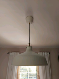 White and brass ceiling light