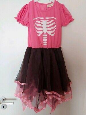 Kostüm Anzug Halloween Fasching Skelett mit Leggings - Gr. 140 - schwarz pink