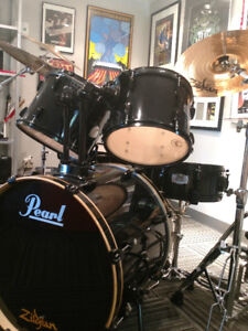 Pearl Export 5-piece drum kit with cymbals and pedal for sale