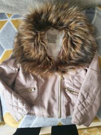 Girls 6-7 pink leather jacket