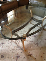 Antique turkish glass coffee table