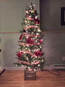 Christmas Tree with lights, stand and a few decorations