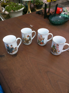 Set of 4 Norman Rockwell cups