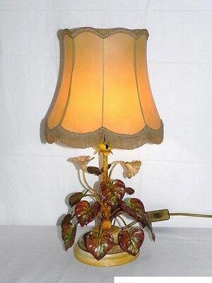 Alte Florentiner Tischlampe  m. Stoffschirm Tischleuchte Holz Fuß Leuchte Lampe