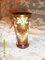 petit vase rose & or Bohemian Moser cranberry & gold vase # 3113