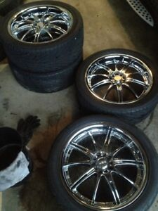 """Chrome 18"""" Wheels and Tires"""