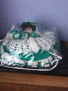 Beautiful doll with handmade crocheted dress made as cushion. Peterborough Peterborough Area image 1