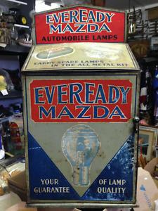 ANTIQUE EVEREADY MAZDA AUTOMOBILE LAMPS TIN CABINET ST THOMAS