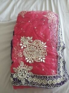 Indian Outfits - Net Pink Sari - Unstitched Never Worn!