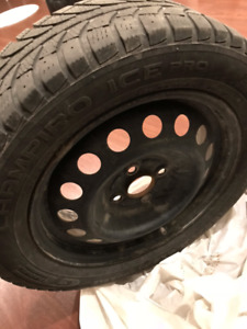"""15"""" steel rims with winter tires"""