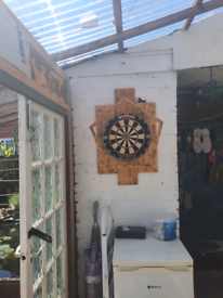 Hand made dart board surround and led light set uo