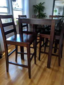 Wooden 2-table 6-chair high-top pub set