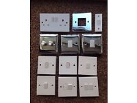 Electrical switches, socket and switch cover Job lot in white plastic and chrome