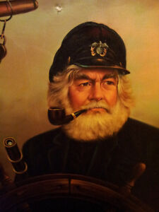 Large Wood Framed Sea Captain Painting