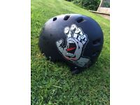 Red mafia bmx and Santa Cruz helmet