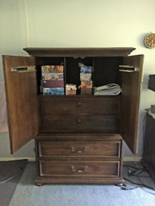 Dresser with mirror, armoir, and bedside table set