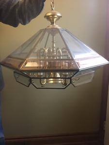 FREDRICK RAMOND CHANDELIER 1984 BRASS LEADED GLASS CEILING LIGHT