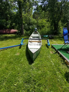 16 ft Aluminum Square Tail Canoe with 3hp Evinrude Lightwin
