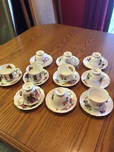 Assorted tea cups, wine & cocktail glasses, dessert cups