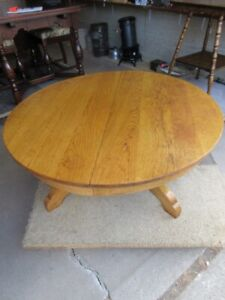 OLD ESTATE ROUND OAK TABLE CUT TO COFFEE TABLE