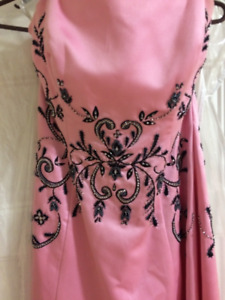 Vintage Pink Prom Dress with Black Beaded Detail