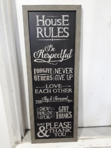 """""""House Rules"""" - Wall Art Sign"""