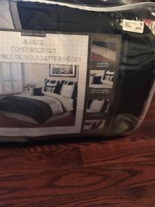 BRAND NEW BEDDING - 8 Piece Silver, Black Comforter Set (Queen)