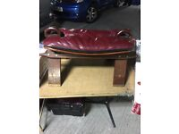 Antique leather foot stool