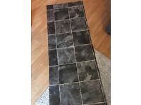 Line Faux Tile Grey Vinyl Lino Flooring