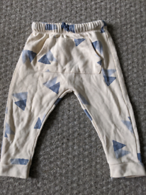 Zara baby boy creme and blue trousers