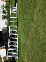 14 ft Aluminum ladder with wheels