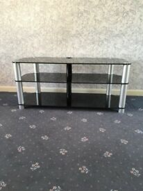 TV Unit - Black Glass & Chrome Finish