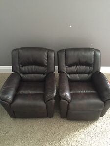2 Kids leather recliners 40 each or both for 70