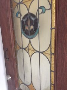Antique stained glass pine door