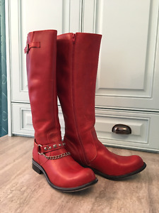 Fluevog Womens Size 12 Red Tall Riding Boots