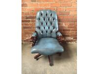 Blue Chesterfield Leather Office Swivel Chair - Solid Mahogany Base