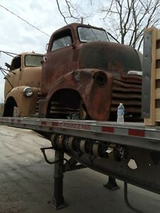 Coe cab over rat rod patina car hauler ramp truck 5700
