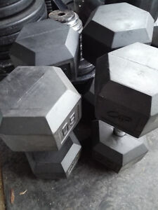 Pair of 80lbs Rubber Hex Dumbbells