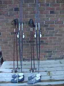 (2) Pairs of Germina Trail Cross Country Skis, Poles and Shoes