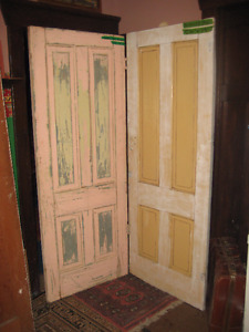 """Two(2) antique 107yr old solid fir """"Dakota"""" style 4panel Doors"""