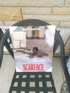 Scarface hardcover poster. Wall hanging. Movie picture frame.