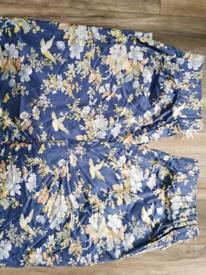 JONELLE alfresco Pairs Curtains Floral blue Vintage Fabric