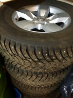 Studded Winter Tires with Rims and TPMS