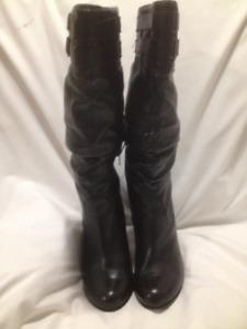Aldo Black Genuine Leather High Heeled Tall Boots Size 38M